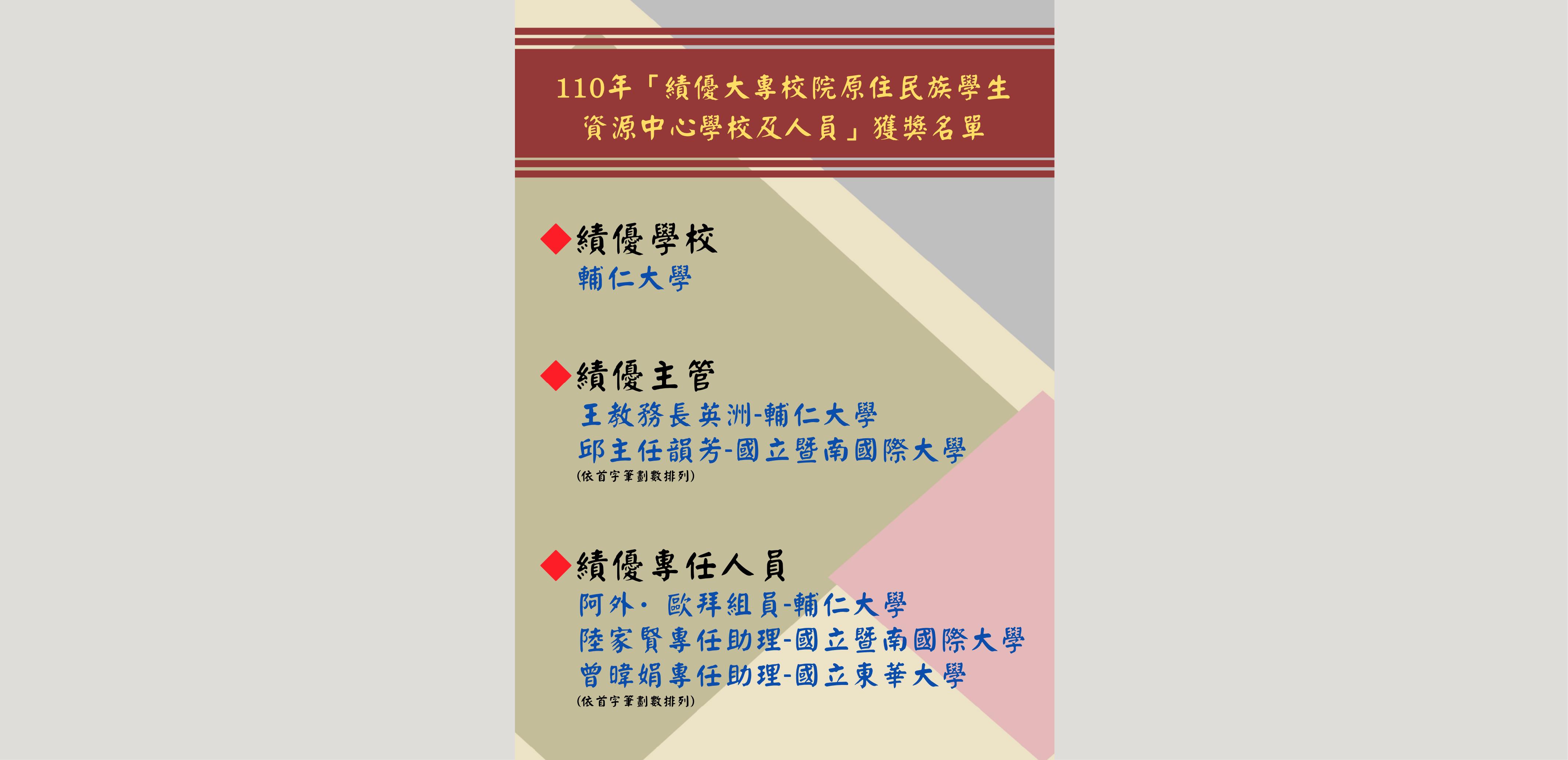 網站輪播圖片 110年績優原資中心學校及人員獲獎名單